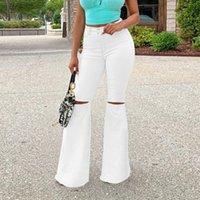 Women's Jeans Hole White Flare Women High Waist Casual Flared Pants Office Lady Slim Denim Trousers Blue Boot Cut Female 2021 Fall