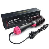 Pinceau d'air chaud électrique à une étape des ions négatifs multifonctionnels Sèche-cheveux Sèche-cheveux Sèche-cheveux Brosse Pinceau lisse Frizz Ionic Technology