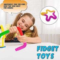 Creative Party Color Sense Sensor Relevo Plástico Tube Retrátil Tubo Brinquedos Tubo Redondo Jogos de Educação Infância Infância