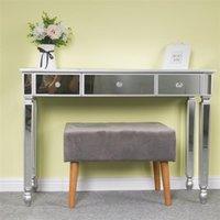 Muebles de dormitorio Multifuncional Escritorio Escritorio Consola Vestidor Table Nail Silver / Rosa / Oro con Piernas de madera de Soild