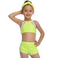 2-14 Years Toddler and Teen Girls Athletic Swimsuits High Neck Front Zipper Sports Crop Top With Boyshorts Kids Bathing Suit 210728
