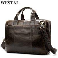 WESTAL Briefcase Male Messenger Bag Men's Genuine Leather Bag for Document Men Shoulder Travel Handbags Satchel Laptop 14 Inch 210306