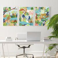Peintures Tropical Plantes Girafe Elephant Léopard Jungle Art Art Art Affiches et impressions Toile Peinture Pictures Décoratives pour salon