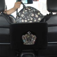 Car Organizer Diamond Crown Storage Bag Hanging Rhinestone Auto Pocket Barrier Of Backseat Holder Container Stowing Tidying