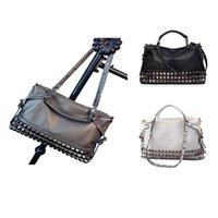 Shoulder Bags Women Modern Punk Pu Leather Cross Body Rivet Top-Handle Hobo Tote Satchel Handbags For Lady