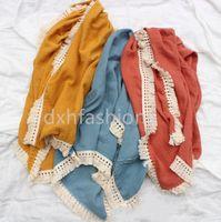 GRATIS DHL 11 COLORES INS Baby Muslin Organic Algodón Manta Tassel Encaje Diseñador Calidad Recién Nacido en blanco Toallas envueltas Mantas
