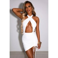 Casual Dresses Sexy Criss Cross Neck Dress Club Bodycon Tie Up Mini Hollow Out Halter Party Bulk Item In Wholesale Lots