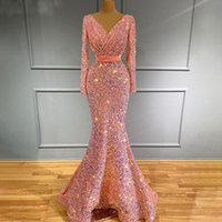 Muslim Pink Mermaid Luxury Evening Dresses Sparkly V Neck Long Sleeve Prom Gowns For Women Crystal Party Club Wear Outfit