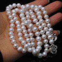 Trendige echte natürliche lange Perlenkette Frauen, Hochzeit weiß Süßwasser Runde Perlenkette Partei Geschenk J1202