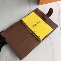 Portafogli Notebook Medium Anello Piccolo Anello Agenda Lavoro Business Business Womens Moda Carta di credito Caso Portafoglio di lusso Iconic Brown Brown Impermeabile Lesvago