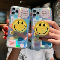 Funny Vintage Label smile stand holder Phone Cases on For iPhone 13 12 11 Pro XS Max X XR 7 8 Plus Soft Airbag TPU Cover Case