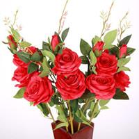 الزهور الزهور أكاليل 5 قطع وهمية الاصطناعي 3 رؤساء زهرة باقة الحرير الورود الفروع لمنازل الجدول حزب الزفاف عيد الميلاد الديكور