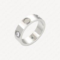 Love Wedding Ring Classic Mens Rings Women Stainless Steel 18k White Gold Plated Never Fade Not Allergic 5mm 6mm Promise Accessories With Jewelry Pouches Wholesale