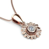 Diamond Flower Daisy Pendant Necklace Rose gold chain women fashion jewelry will and sandy