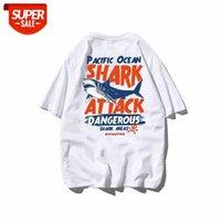 대형 상어 반팔 유럽 및 미국 유행 브랜드 하프 슬리브 느슨한 힙합 티셔츠 남성 뚱뚱한 남자의 큰 크기 # 0F1A