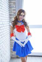 Anime Sailor Moon Cosplay Costume United Fancy Party платье перчатки головные уборы Цукино Усаги Меркурий Марс Юпитер Чибиуса