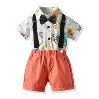 Clothing Sets Baby Boy Set Print Gentleman Formal Suit Summer Children Clothes Bow Short Sleeve Shirt Set+Suspender Pants 4PCS Outfit