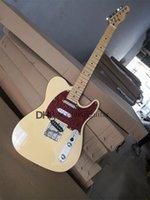 custom tel electric guitar, milk yellow guitar,SSS pickhps,fixed bridge,chrome buttons,maple fingerboard