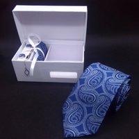 페이즐리 넥타이 폴카 마이크로 화이버 넥타이 결혼식 넥타이 특수 무거운 면화 래핑 된 interlining mens 넥타이 + 클립 + 커프스 단추 + hanky 좋은 선물 상자에서 일치하는 색상