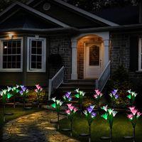 Solar Lamps Garden Lights Outdoor, 2 3 Packs Lily Flower Stake Multi-color Changing LED Light For Garden, Terrace.