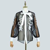 Европейский и американский свет роскошный дворец ветер однобортный перспектива кружева вышивка фонарик рукав рубашка