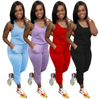 Frauen Jumpsuits Summer Overalls Solide Farbe Onesie Casual Strampler Sleeveless Bodysuits Tasche Einteilige Hosen 5388