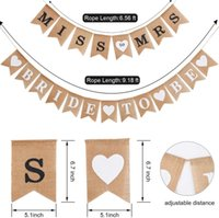 2pcs lot Burlap Flags Banner MISS T O MRS Bride to Be Banners Bridal Shower Rustic Bunting Garland for Wedding Party Decorations FWF10281