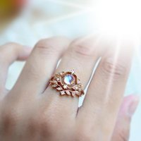 Wedding Rings JK Bands For Women Fashion Rose Gold Color Leaf Shape Set With Moonstone Engagement Ring Party Jewelry