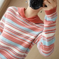 Autumn and winter new cashmere hooded Pullover striped loose thickened wool knitted bottomed women's sweater