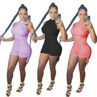 Women Jumpsuits Rompers summer clothing sexy club elegant pleated solid color sleeveless bandage drawstring bodysuits sportswear shorts leggings fashion 01697