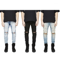 Slim Fit Ripped Jeans Men Hi-Street Mens Denim Denim Denim Joggers Rodilleras Lavado Jeans destruido PLUS S1
