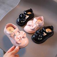 유아 유아 신발 아기 소녀 가죽 신발 가을 부드러운 바닥이 아닌 미끄럼 어린이 키즈 스팽글 나비 나비 - 매듭 공주 신발