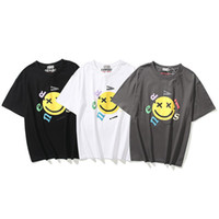 2021 Marca de moda Smiley Face T-shirt Impressão de Espuma Menosa Homens e mulheres Redondo Pescoço High Street Manga Curta Tide Ins WGTX37005