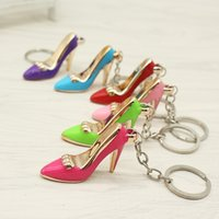 Shoes 2018 Keychain Purse Pendant Bags Cars Shoe Ring Holder Chains Key Rings For Women Gifts Women acrylic High Heeled