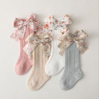 INS children bowknot lace socks Spanish style toddler kids floral bows middle stockings baby girls mesh breathable hosiery S1273