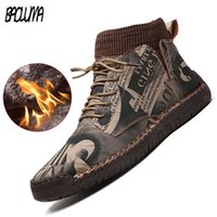 New Winter Men's Boots Thick Plush Warm Snow Suede Ankle Handmade Outdoor Shoes