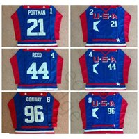 Mighty Ducks D2 영화 팀 미국 하키 유니폼 21 Dean Portman 44 Fulton Reed 96 Charlie Conway Jersey 블루 셔츠 스티치