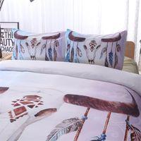 Bohemian Bedding Set Dream Penas Imprimir Bedclothes Dupla Rainha Rei Luxo 3D Duveta Capa Fronha Conjuntos 2 / 3PCS 703 K2