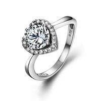 HBP Fashion Fashion Lusso 2021 Temperamento Diamante a forma di cuore dolce Super Flash Ring Pure Silver Silver Jewelry Counter Quality