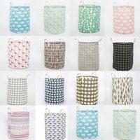 Cylinder Fabric Laundry Basket Folding Clothing Storage Bucket Kids Toys Storage Barrel Home Organizer 14style HHA1732