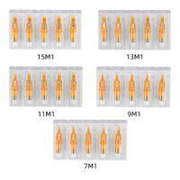 50pcs Disposable Tattoo Cartridge Needles Sterilized Safety Mix 7M1 9M1 11M1 13M1 15M1 Eyebrow Lip Makeup For Pen Tattoo Machine Grips