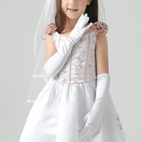 Bridal Gloves 1 Pair Pearl Decor Satin Long Dress Wedding For Kids Stage Performance Party