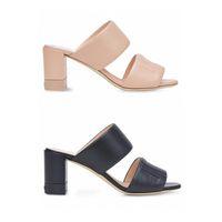 Novas mulheres couro slides verão saltos altos em relevo sandálias de alça dupla lettering mula sapatos senhoras casamento sandálias de praia com caixa 272
