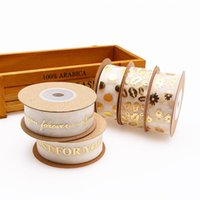 Jewelry Pouches, Bags Organza Ribbon Love You Just For You Round Daisy Gold Foil Printed Gift Packaging Wedding DIY Crafts