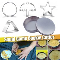 10Pcs TV Squid Game Sugar Pie Cookie Cutter Pun Candy Multiple Cookie Cake Mold Baking Desserts Tools Props Toys Gift For Kids Boys Star Umbrella-shaped Triangle 2022