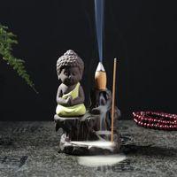 Handgemachte Keramik Lotus Rückfluss Buddhistin Weihrauch Keramik Rückfluss Räucherbrenner Halter Zenser Aromatherapie Rauchstift Räucherstein EWF5288