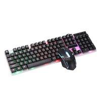 Tastiera Mouse Combos Gaming e cablato con retroilluminazione Russia Gamer Kit 2400DPI Set silenzioso per PC Laptop