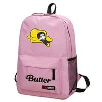 حقيبة الظهر bangtan بنين زبدة الظهر طالب حقيبة مدرسية ملونة الأزياء الطباعة في الهواء الطلق الترفيه السفر قماش الرجال