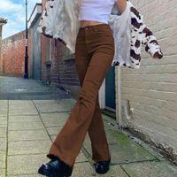 Женские джинсы с высокой талией в расклешенные джинсы Khaki черные коричневые брюки для женщин одежда брюки Джин мода повседневные брюки