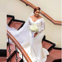 Aso Ebi White Lace Wedding Gowns 2022 Deep V Neck Long Sleeves Appliques Plus Size Mermaid Garden Country Bridal Dresses For African Women Robe De Marriage